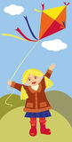 Girl with a kite Stock Image