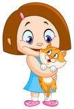 Girl with kitten Stock Photo