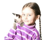 Girl with   kitten Stock Images
