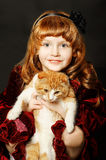 Girl with a kitten Royalty Free Stock Images