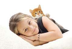 Girl and kitten Royalty Free Stock Images