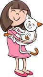 Girl with kitten cartoon Stock Image