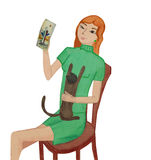 Girl with a kitten Royalty Free Stock Image