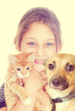 Girl and kitten and dog Royalty Free Stock Image