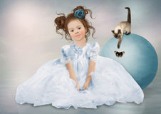The girl and kitten royalty free stock photography