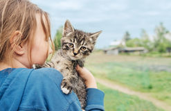 Girl with kitten Stock Photo