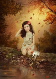 Girl and kitten Royalty Free Stock Photo
