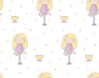 Girl kitten pattern Royalty Free Stock Photography