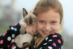 Girl with kitten Royalty Free Stock Photography