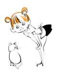 Girl with kitten stock illustration