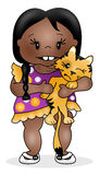 Girl and Kitty. Illustration of a young child hugging a kitty cat Stock Photos