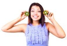Girl with kiwi Stock Photo