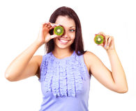 Girl with kiwi Royalty Free Stock Photography