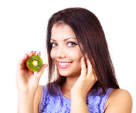 Girl with kiwi Stock Image