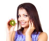 Girl with kiwi Stock Image