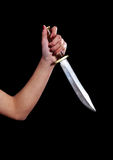 Girl with knife. Asian girl wielding a big hunting knife royalty free stock photos