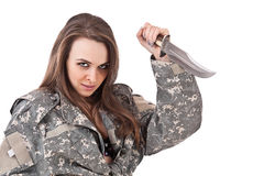 Girl and knife Stock Images