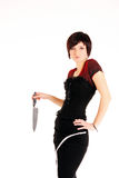 Girl with the knife Royalty Free Stock Images