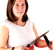Girl with knife Stock Photos