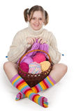 The girl knits Royalty Free Stock Image