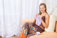 Girl knits Stock Photo