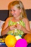 Girl knits Royalty Free Stock Image