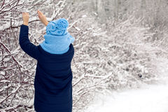 Girl in a knitted blue scarf, and cap stands Stock Image