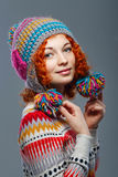 Girl in knitted cap royalty free stock photo