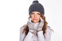 Girl in knitted cap and sweater Royalty Free Stock Photos