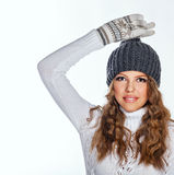 Girl in knitted cap and sweater Royalty Free Stock Images