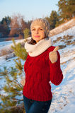 Girl in knitted clothes in the winter Stock Photo