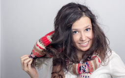 Girl with a knitted hat Stock Photo