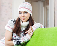 Girl in knitted hat relaxing at home Stock Photography