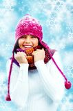 Girl in knitted scarf Royalty Free Stock Image