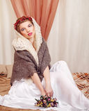 Girl in knitted scarf Royalty Free Stock Photos