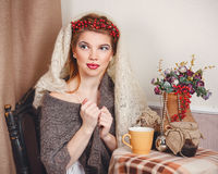 Girl in knitted scarf Royalty Free Stock Photo