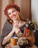 Girl in knitted scarf Royalty Free Stock Images