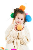 Girl with knitting spokes and balls of threads in hair Royalty Free Stock Image