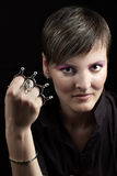 Girl with knuckleduster Stock Photo
