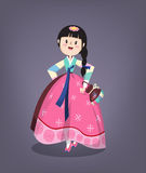Girl in Korean traditional costume Stock Photos