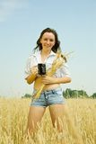 Girl  with kvass Stock Images