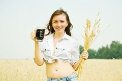 Girl  with kvass Royalty Free Stock Photo