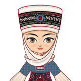 The girl in Kyrgyz dress. Avatar Stock Photo