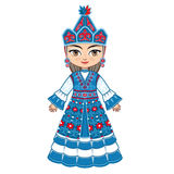 The girl in Kyrgyz dress. Historical clothes. Royalty Free Stock Photos
