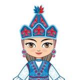 The girl in Kyrgyz dress.Historical clothes. Portrait, avatar Stock Photos
