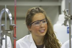 Girl In A Laboratory Stock Images
