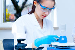 Girl laboratory assistant checks samples medical lab Royalty Free Stock Photography