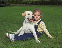 Girl with labrador puppy Royalty Free Stock Image