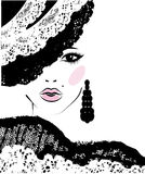 Girl with in a lace hat, fashion illustration Stock Images