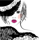 Girl with in a lace hat, fashion illustration Stock Photos